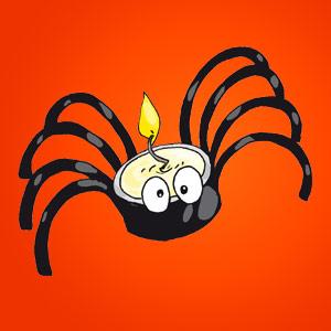 Spinnen-Teelicht - kostenlose Bastelideen für Kinder