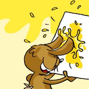 Häschen mit Farbe und Papier - Linus-Comic
