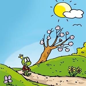 Linus läuft einen Weg entlang - Linus-Comic