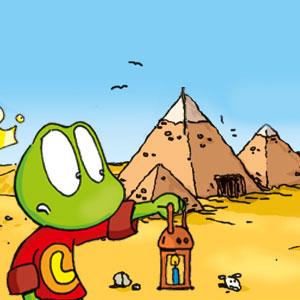 Linus mit Lampe vor einer Pyramide - Linus-Comic