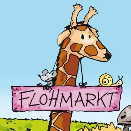Giraffe mit Flohmarkt-Schild - Linus-Comic
