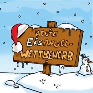 Schild vom Eisangelwettbewerb - Linus-Comic