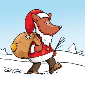 Weihnachtsmann läuft durch den Schnee - Linus-Comic