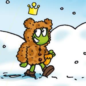 Linus läuft mit einer dicken Strickjacke im Schnee - Linus-Comic