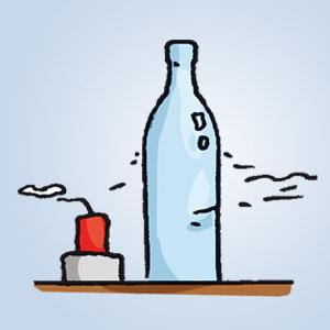 Kerze hinter einer Flasche - kostenlose Experimente für Kinder