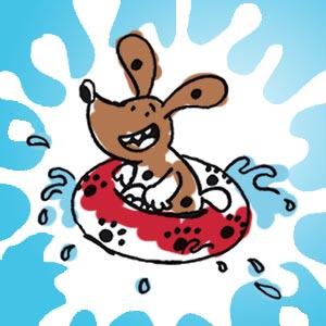 Herr Herman im Schwimmreif - kostenlose Ausmalbilder für Kinder