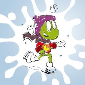 Linus mit Schlittschuhen - kostenlose Ausmalbilder für Kinder