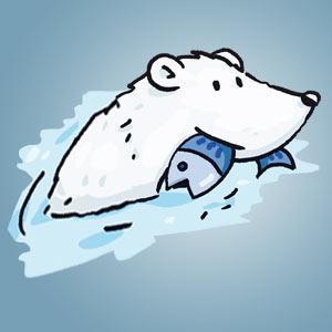 Eisbär im Wasser mit Fisch - kostenloser Zeichen-Trick für Kinder
