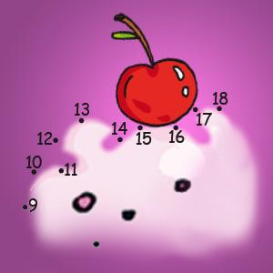 Zahlen mit Kirsche - Rätsel für Kinder - Malen nach Zahlen