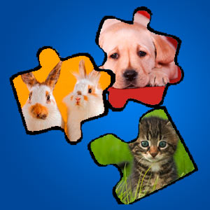 Interaktives Minispiel für Kinder - Puzzle Hund-Hase-Katze-Tiger-Fuchs