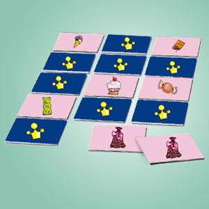Interaktives Minispiel für Kinder - Memospiel Süßigkeiten