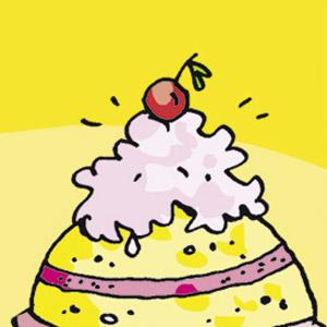Kuchen mit Kirsche - Comic-Strip - kostenlos