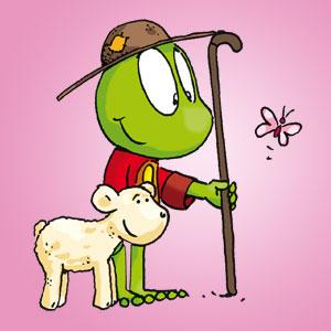 Linus als Hirte neben einem Lamm - Wissen über Tiere
