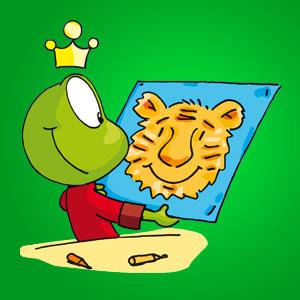 Linus mit einem Bild von einem Tiger - Wissen über Tiere