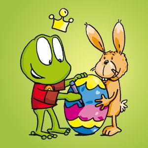 Linus mit Osterei und Hase - Wissen über Tiere