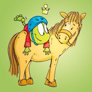 Linus auf einem Pferd - Wissen über Tiere