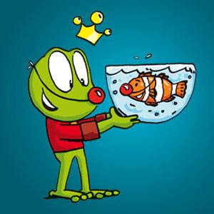 Linus mit einem Clownfisch - Wissen über Tiere