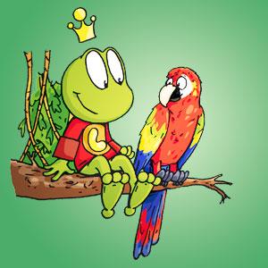 Linus neben einem Papagei - Wissen über Tiere