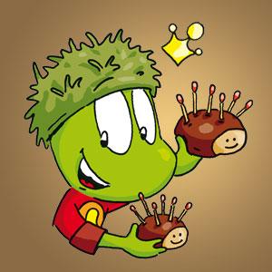 Linus mit Igel aus Kastanien - Wissen über Tiere
