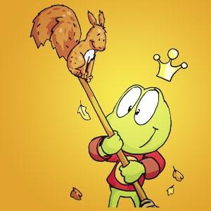 Linus mit einem Eichhörnchen - Wissen über Tiere