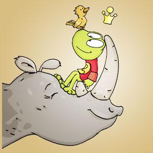 Linus auf einem Nashorn - Wissen über Tiere