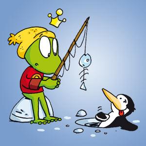 Linus beim Eisangeln mit einem Pinguin - Wissen über Tiere