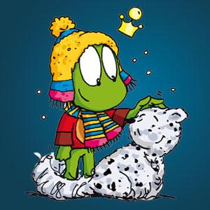 Linus mit einem Schneeleoparden - Wissen über Tiere