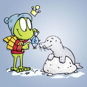 Linus neben einem Seehund - Wissen über Tiere
