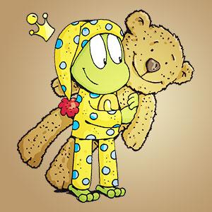 Linus mit einem Stoffbär - Wissen über Tiere