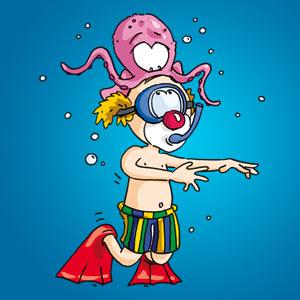 Clown mit Tintenfisch - Witze