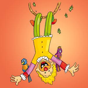 Clown hängt kopfüber an einer Liane - Witze - kostenlos