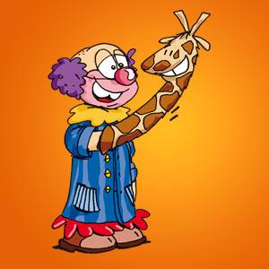 Clown mit Giraffenhandschuh - Witze - kostenlos
