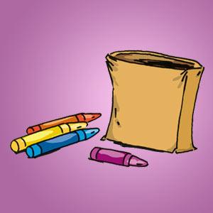 Papiertüte mit Buntstiften - kostenloser Zaubertrick für Kinder