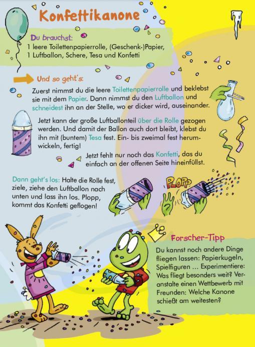 Anleitung für Konfettikanone - kostenlose Experimente für Kinder