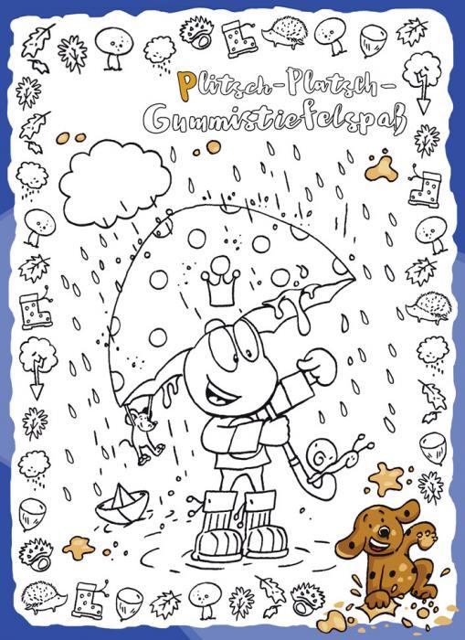 Gummistiefelspaß - kostenloses Ausmalbild für Kinder