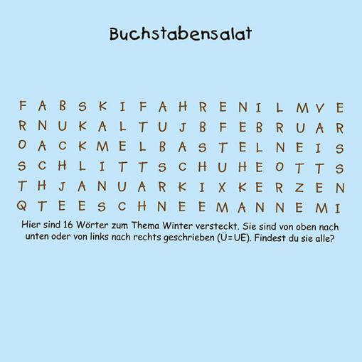 Buchstabensalat - kostenloses Rätsel für Kinder